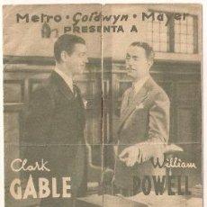 Cine: ENEMIGO PUBLICO NUMERO 1 PROGRAMA DOBLE MGM CLARK GABLE WILLIAM POWELL MYRNA LOY. Lote 32140011