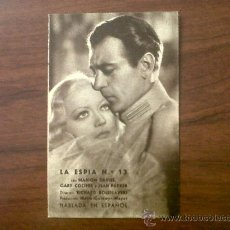 Cine: PROGRAMA TARJETA LA ESPIA Nº13-MARION DAVIES-GARY COOPER Y JEAN PARKER-METRO GOLDWYN MAYER. Lote 32204468