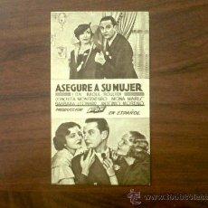 Cine: PROGRAMA TARJETA ASEGURE A SU MUJER-RAOUL ROULIEN-CONCHITA MONTENEGRO-FOX-CINEMA ALIANÇA-1935. Lote 32232210