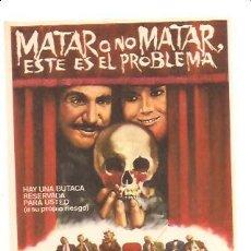 Cine: PROGRAMA MATAR O NO MATAR, ESTE ES EL PROBLEMA. Lote 195092157