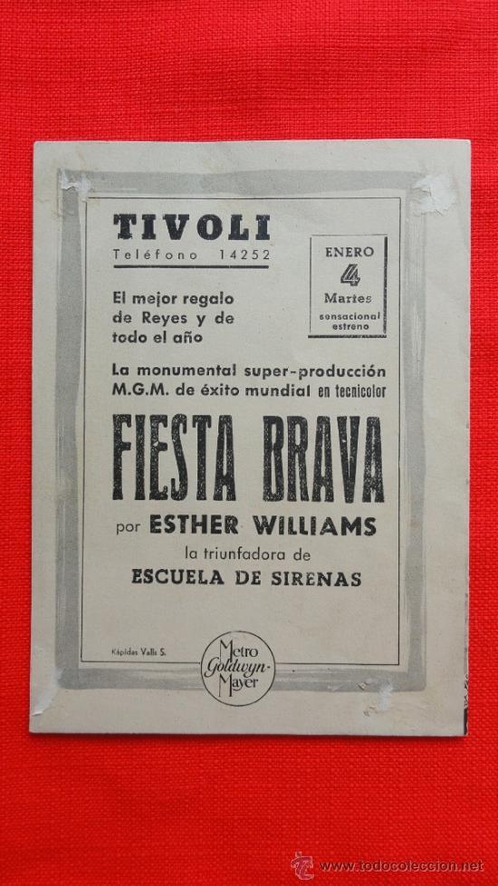 Cine: FIESTA BRAVA, DOBLE EXCELENTE ESTADO, ESTHER WILLIAMS, MGM, CON PUBLICIDAD CINE TIVOLI - Foto 3 - 32286330