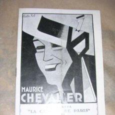 Cine: LA CANCION DE PARIS MAURICE CHEVALIER ,COLISEUM ,AÑOS 30 -16 PAG. 20X13,5 CM. . Lote 32322075