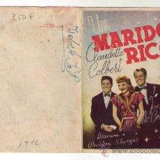 Cine: PROGRAMA DOBLE - UN MARIDO RICO - CLAUDETTE COLBERT - 1942 - SIN PUBLICIDAD. Lote 32349778