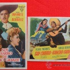 Cine: SOY CHARRO DE RANCHO GRANDE, 2 SENCILLOS ORIGINALES, PEDRO INFANTE, 1953, 1 CON PUBLI TEATRO CIRCO. Lote 32358379
