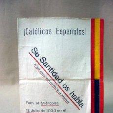 Cine: RARO PROGRAMA O FOLLETO DE MANO, CINE DOCUMENTAL, SU SANTIDAD OS HABLA, 1939, TEATRO CIRCO, FALANGE. Lote 32392478
