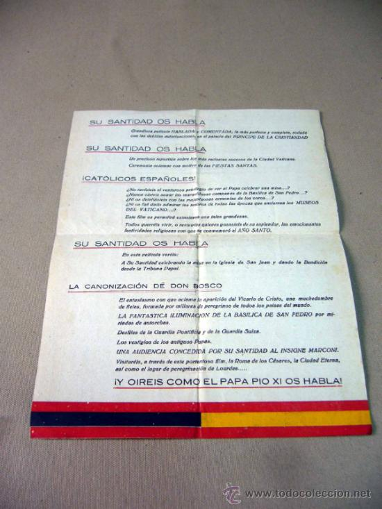 Cine: RARO PROGRAMA O FOLLETO DE MANO, CINE DOCUMENTAL, SU SANTIDAD OS HABLA, 1939, TEATRO CIRCO, FALANGE - Foto 2 - 32392478