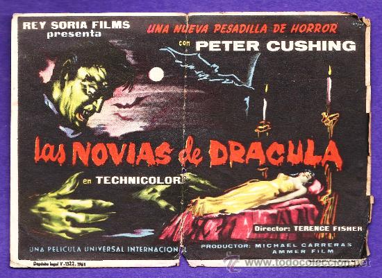 FOLLETO MANO - LAS NOVIAS DE DRACULA - P.CUSHING - TARRAGONA / C. CAPITOL - TGN - AÑO 1961 - JR (Cine - Folletos de Mano - Terror)