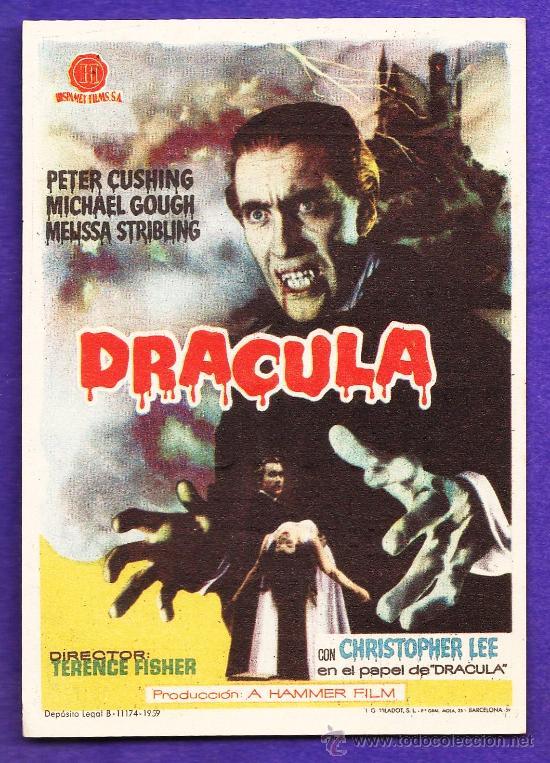 FOLLETO MANO - DRACULA - CHRISTOPHER LEE / P.CUSHING - CINE TARRAGONA - TGN - AÑO 1960 - JR (Cine - Folletos de Mano - Terror)