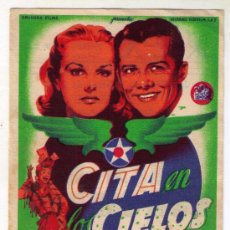 Cine: CITA EN LOS CIELOS - LON MCCALLISTER - 1944 - PUBLICIDAD EN REX. Lote 32418712