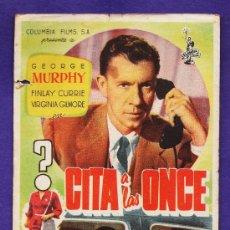 Flyers Publicitaires de films Anciens: FOLLETO MANO - CITA A LAS ONCE - G. MURPHY - DORSO EN BLANCO - AÑOS 50. Lote 32435447