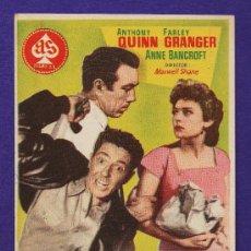 Cine: FOLLETO MANO - LA CALLE DESNUDA - ANTHONY QUINN - TARRAGONA/C.FEMINA - TGN - AÑOS 50 - JR. Lote 32456895