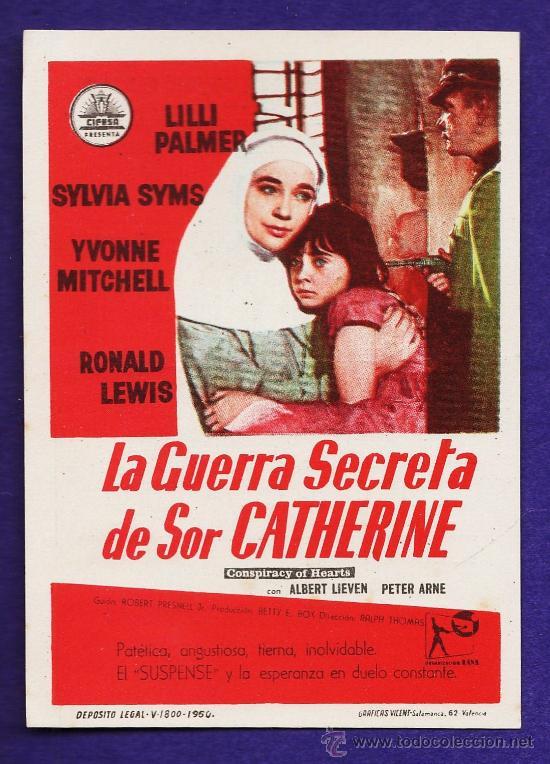 FOLLETO MANO - LA GUERRA SECRETA DE SOR CATHERINE - TARRAGONA/C.COLISEUM - TGN - AÑOS 50 (Cine - Folletos de Mano - Drama)
