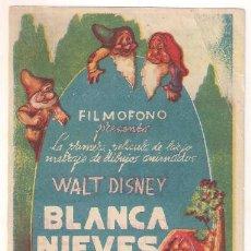 Cine: BLANCANIEVES Y LOS SIETE ENANITOS PROGRAMA SENCILLO FILMOFONO WALT DISNEY. Lote 32478446