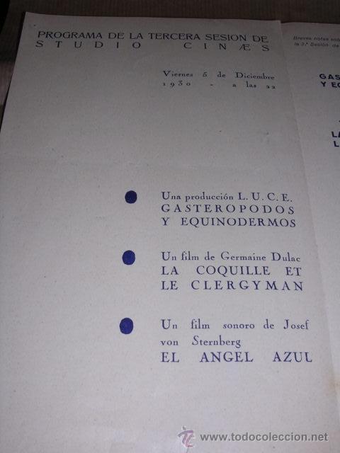 Cine: PROGRAMA ( VANGUARDIAS ) SURREALISMO LA COQUILLE ET LE CLERGYMAN ,DE GERMAINE DULAC ,- EL ANGEL AZUL - Foto 2 - 32489015