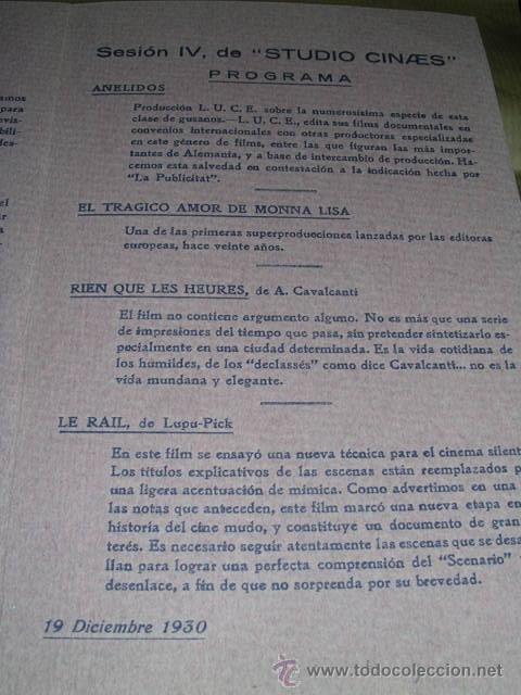 Cine: PROGRAMA ( VANGUARDIAS ) LE RAIL DE LUPU PICK, - RIEN QUE LES HEURES DE A. CAVALCANTI - Foto 3 - 32489117