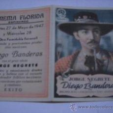 Cine: PROGRAMA DE CINE. DIEGO BANDERAS. JORGE NEGRETE. PUBL. DE CINEMA FLORIDA. ESPINARDO. CON CANCIONERO.. Lote 32489950