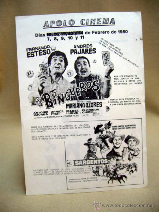 PROGRAMA DE CINE, APOLO CINEMA, LOS BINGUEROS, EL CAMPEON, MARIANO OZORES, 1980, (Cine - Folletos de Mano - Acción)