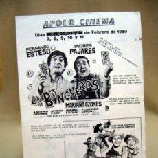 Cine: PROGRAMA DE CINE, APOLO CINEMA, LOS BINGUEROS, EL CAMPEON, MARIANO OZORES, 1980, . Lote 32504677