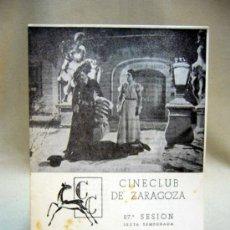 Cine: PROGRAMA DE CINE, CINE CLUB DE ZARAGOZA, ZANZABELLE Y MASCARADA, 1950. Lote 32504807