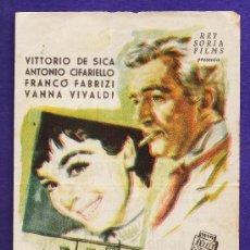 Cine: FOLLETO MANO - ¡ADIOS JUVENTUD! - VITTORIO DE SICA - TARRAGONA/C.FEMINA - TGN - AÑOS 50 - JR. Lote 32512742