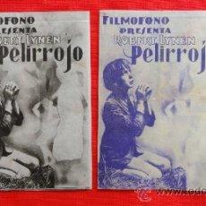 Cine: PELIRROJO, ROBERT LYNEN, 2 DOBLES DISTINTOS COLORES, 1935, CON PUBLICIDA TEATRO BARTRINA Y PRINCIPAL. Lote 32516882