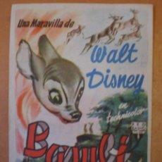 Cine: FOLLETO DE MANO ESTRENO DE BAMBI EN EL CINE GOYA. AÑO 1953. WALT DISNEY. Lote 32566895