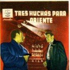 Cine: TRES HUCHAS PARA ORIENTE.- SENCILLO. REVERSO IMPRESO CINE MAIQUEZ DE CARTAGENA, 1955.. Lote 32629146
