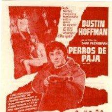 Cine: PERROS DE PAJA. DUSTIN HOFFMAN. RARO. REVERSO IMPRESO CINE ESPAÑA DE MASNOU. 2.2.1975.. Lote 32629326