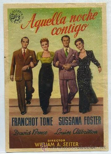 PROGRAMA DE CINE: AQUELLA NOCHE CONTIGO PC-1829 (Cine - Folletos de Mano - Comedia)