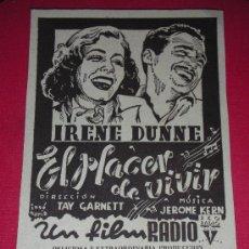 Cine: PROGRAMA DE MANO EL PLACER DE VIVIR CINE CAPITOL VALENCIA 1940. Lote 32703424
