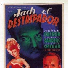 Cine: JACK EL DESTRIPADOR - MERLE OBERON -1944 - PUBLICIDAD EN MANILA. Lote 32721672