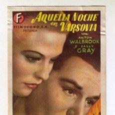 Cine: AQUELLA NOCHE EN VARSOVIA - ALTON WALBROOK - 1941 - SIN PUBLICIDAD. Lote 32731532