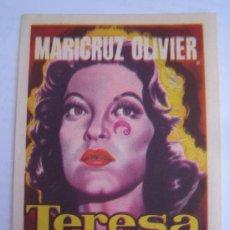 Foglietti di film di film antichi di cinema: TERESA MARICRUZ OLIVIER - FOLLETO DE MANO ORIGINAL ESTRENO CON CINE IMPRESO. Lote 32746755
