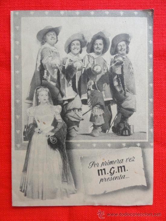 LOS TRES MOSQUETEROS. EXCELENTE PROGRAMA DOBLE MGM 1950, CON PUBLICIDAD (Cine - Folletos de Mano - Acción)