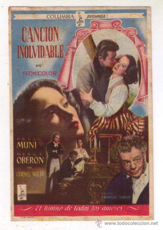CANCION INOLVIDABLE - PAUL MUNI - 1944 - PUBLICIDAD EN REX (Cine - Folletos de Mano - Comedia)