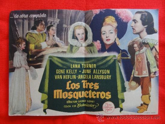 Cine: LOS TRES MOSQUETEROS. EXCELENTE PROGRAMA DOBLE MGM 1950, CON PUBLICIDAD - Foto 2 - 32748298