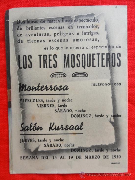 Cine: LOS TRES MOSQUETEROS. EXCELENTE PROGRAMA DOBLE MGM 1950, CON PUBLICIDAD - Foto 3 - 32748298