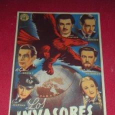 Cine: PROGRAMA DE MANO 'LOS INVASORES' CON LAWRENCE OLIVIER Y LESLIE HOWARD CINES POMPEYA Y SEDAVI. Lote 32763063