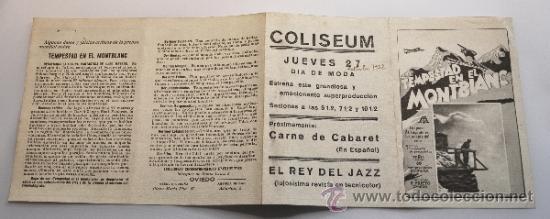 PROGRAMA DE MANO TEMPESTAD EN EL MONTBLANC. 1932 (Cine - Folletos de Mano - Acción)