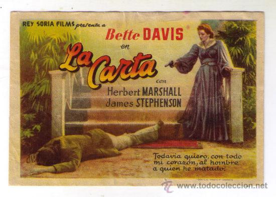LA CARTA - BETTE DAVIS - 1940 - PUBLICIDAD EN COLISEO (Cine - Folletos de Mano - Comedia)