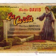 Cine: LA CARTA - BETTE DAVIS - 1940 - PUBLICIDAD EN COLISEO. Lote 32816361