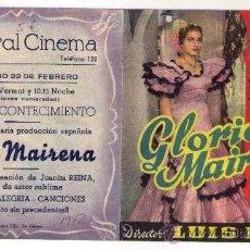 Cinema - PROGRAMA DOBLE - GLORIA MAIRENA - JUANITA REINA - 1952 - PUBLICIDAD EN CENTRAL CINEMA - 32821158