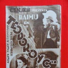 Cine: TEODORO Y CIA, RAIMU, PROGRAMA DOBLE AÑOS 30, CON PUBLICIDAD TEATRO ZORRILLA. Lote 32821185