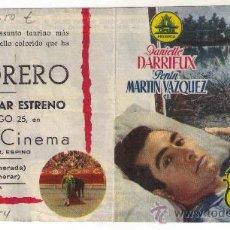 Cine: PROGRAMA DOBLE, EL TORERO, DANIELLE DARRIEUX - 1954 - PUBLICIDAD EN CENTRAL CINEMA. Lote 32821967
