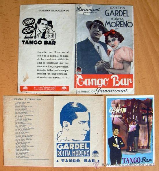 TANGO BAR - TRES PROGRAMAS DIFERENTES - CARLOS GARCEL - CON PUBLICIDAD (Cine - Folletos de Mano - Clásico Español)
