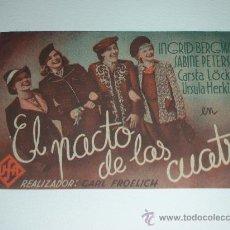 Cine: PROGRAMA DE MANO DOBLE 'EL PACTO DE LAS CUATRO' CONINGRID BERGMANN CINE ESPAÑOL DE VALENCIA 1941. Lote 32956331