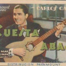 Cine: CUESTA ABAJO. PROGRAMA TARJETA DE PARAMOUNT. SALÓN DE VERANO.. Lote 32961976