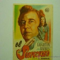 Cine: PROGRAMA DE CINE EL SOSPECHOSO-CHARLES LAUGHTON-SELLO TAMPON CINE LA PALMA.-EL PEDROSO. Lote 32980515