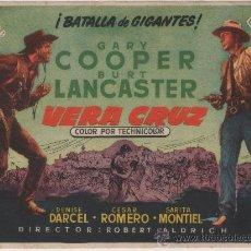 Cine: FOLLETO DE MANO VERACRUZ (1954) GARY COOPER , BURT LANCASTER, SARITA MONTIEL.. Lote 33020107