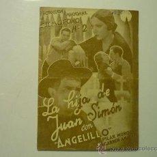 Cine: PROGRAMA CINE DOBLE LA HIJA DE JUAN SIMON -ANGELILLO-SELLO CINE. Lote 33053713